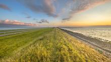 Afsluitdijk Dutch Dike Sunset Landscape
