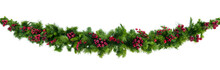 Christmas Garland With Red Berries Isolated On White