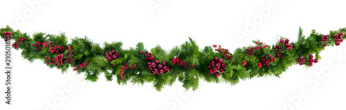 Fotografia Christmas Garland with Red Berries Isolated on White