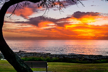 Beachside Sunrise On A Cloudy Morning, A Serene Landscape For A Lonely Dawn With A Park Bench In The Foreground.