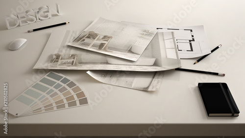Valokuva  Architect designer concept, table close up with interior renovation draft, bathr