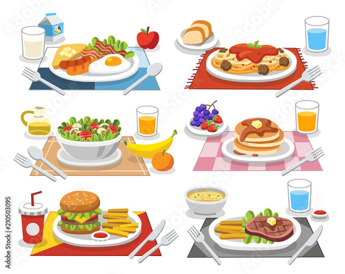 Sample food at each meal. Meals of people who should eat in a day. Ideas for creating a nutritional description for daily food. Wall mural