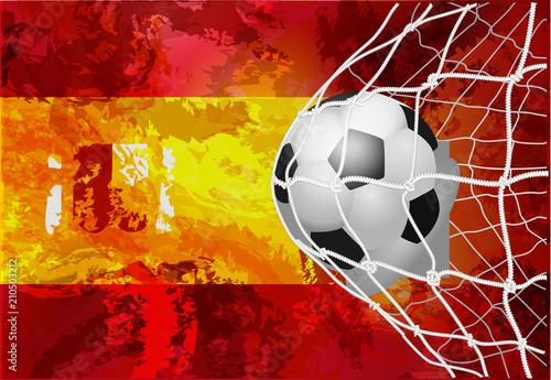 Obrazy Barcelona  pilka-z-flaga-grunge-hiszpanii