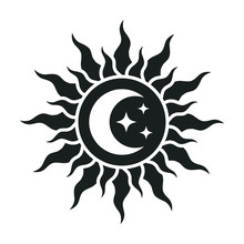Sun And Moon With Stars Logo.
