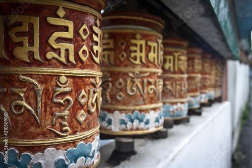 Staande foto Nepal Prayer wheel in Monastery