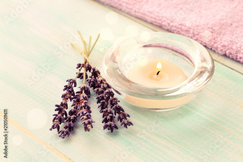 Aroma Tea Candle With Lavender Twigs On Table Decor Bokeh Light Relaxing Spa Time Toned Buy This Stock Photo And Explore Similar Images At Adobe Stock Adobe Stock