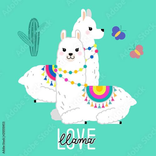 Cute Llama And Alpaca Illustration For Nursery Design Poster