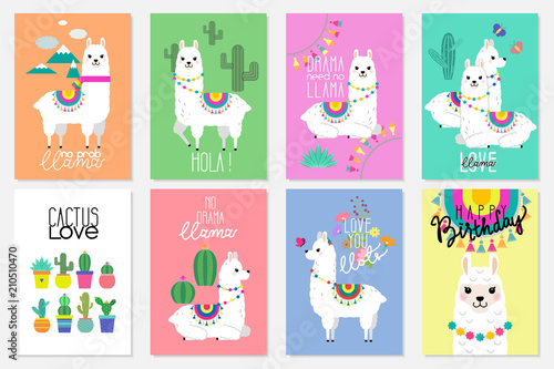 Stampa su Tela Cute llamas, alpacas and cactus illustrations for nursery design, poster, greeti