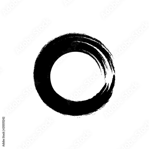 Fototapety, obrazy: Vector Enso Circle Icon, Roud Shape Brush Stroke, Zen Symbol.