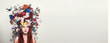Leinwanddruck Bild - Portrait of girl with flower crown
