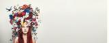 Fototapeta Kwiaty - Portrait of girl with flower crown