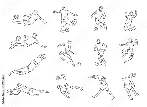 Fotografie, Obraz Soccer, Football Player, Movement, Sketch, Drawing, Vector and Illustration