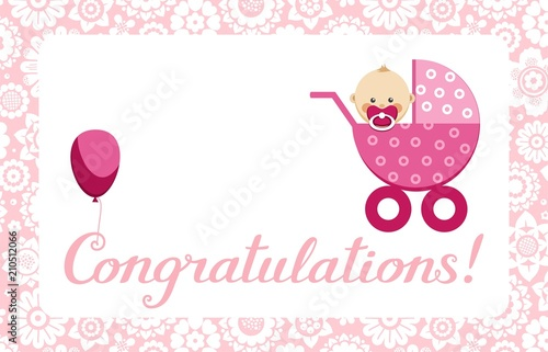 Congratulations Newborn Baby Girl Postcard English Vector In A