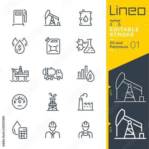 Fototapeta Lineo Editable Stroke - Oil and Petroleum line icons obraz