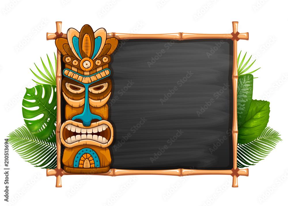 Fototapeta Tiki Mask And Bamboo Frame