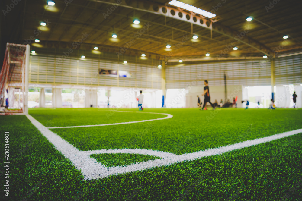 Fototapeta Corner Line of an indoor football soccer training field