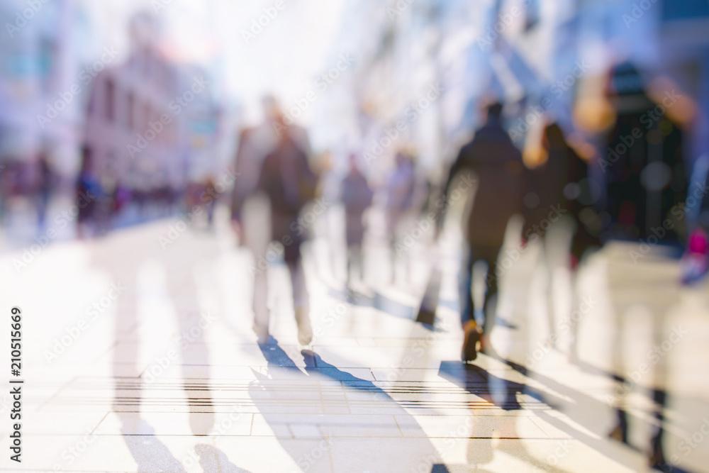 Fototapeta Crowd of anonymous people walking