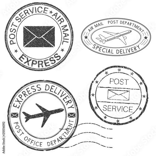 Fotografía  Postmarks. Black ink round postal stamps