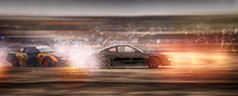 Panorama Blurry Car Battle Drifting With Glitter On Speen Track Curcuit. Motor Sport Concept.