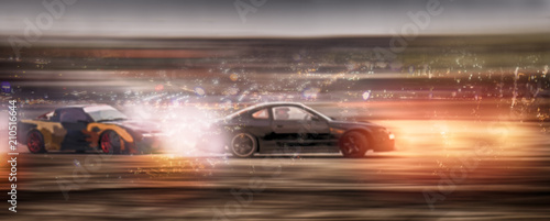 Fototapeta Panorama blurry car battle drifting with glitter on speen track curcuit. Motor sport concept. obraz