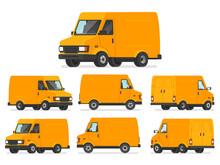 Yellow Van Set. Truck For Tran...