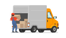 The Loader Unloads The Goods From The Truck. Delivery Service. Moving. Vector Illustration