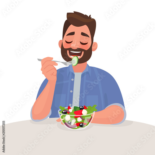 Man is eating a salad. Vegetarian. The concept of proper nutrition and healthy lifestyle. Vector illustration
