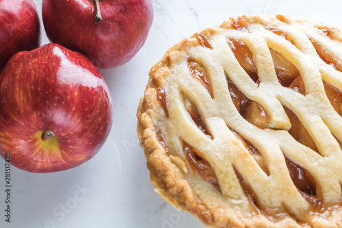 Photo  American traditional apple pie background