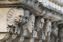 Closeup View Of Mascarons With...