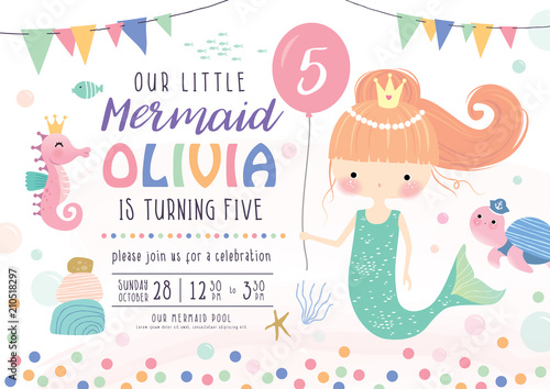 Kids Birthday Party Invitation Card With Cute Little
