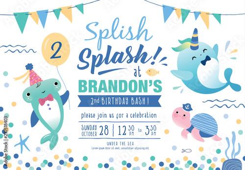 Kids Birthday Party Under The Sea Theme Invitation Card With Cute Marine Life Cartoon Character