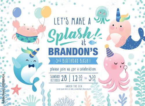 Fototapeta Kids Birthday Party Under The Sea Theme Invitation Card With Cute Marine Life Cartoon Character