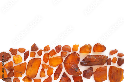 Photo Natural raw amber stone isolated on white background.