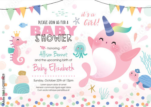Baby Shower Under The Sea Theme Invitation Card With Cute Marine