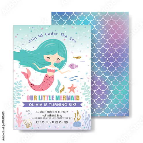 Kids Birthday Party Front And Back Invitation Card With Cute