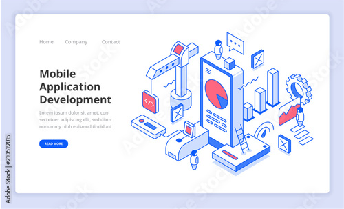 Fotomural Mobile Application Development Isometry Illustration