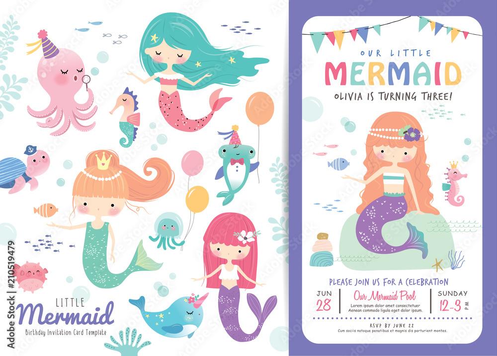 Photo Art Print Birthday Party Invitation Card Template