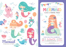 Birthday Party Invitation Card Template With Cute Little Mermaids And Marine Life Cartoon Character