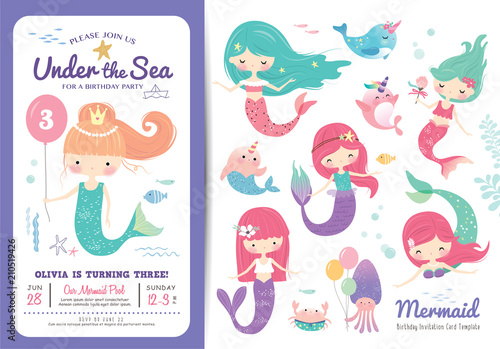 Photographie  Birthday party invitation card template with cute little mermaid, marine life ca