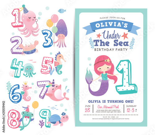 Fototapeta Birthday Party Invitation Card Template With Cute