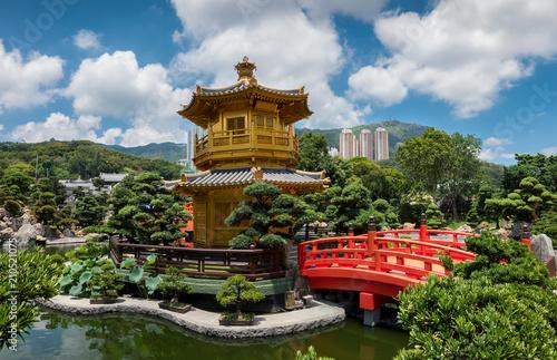 In de dag Hong-Kong Der goldene Pavillon der Absoluten Perfektion in den Nan Lian Gärten, Hong Kong
