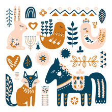 Composition With Folk Art Animals And Decorative Elements. Hand Drawn Vector Pattern. Scandinavian, Nordic Style.