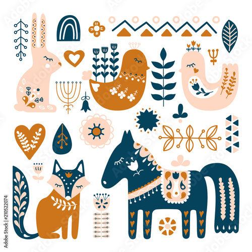 Composition with Folk art animals and decorative elements Canvas