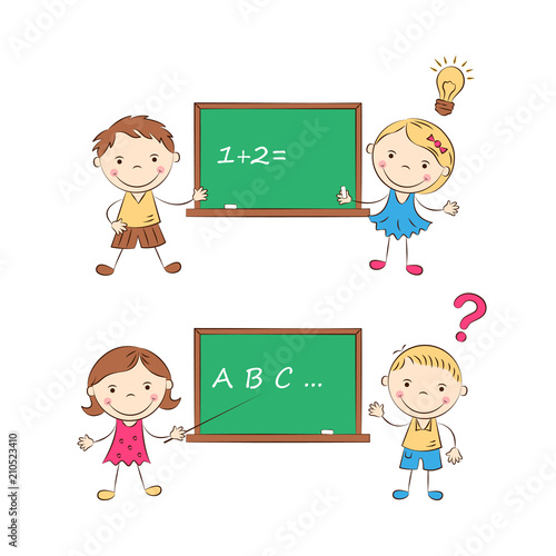 Funny Doodle Pupils In Class At Blackboard Happy Cartoon Boys And Girls Education And School Concept Vector Illustration Buy This Stock Vector And Explore Similar Vectors At Adobe Stock Adobe Stock