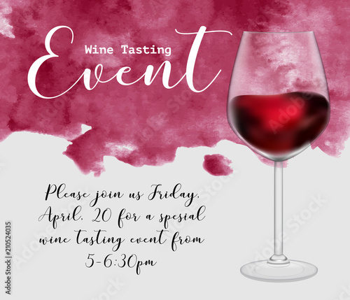 Fotografie, Obraz Wine tasting event flyer template, vector illustration