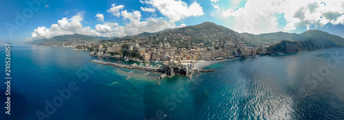 Papiers peints Cote Aerial View of Camogli town in Liguria, Italy. Scenic Mediterranean riviera coast. Historical Old Town Camogli with colorful houses and sand beach at beautiful coast of Italy.