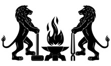 Coat Of Arms With Lions. Gothic Emblem Of The Medieval Guild Of Blacksmiths, Craftsmen. Vector. Two Calm Lions Stand With Tools Near The Anvil. Flame In The Form Of A Bird Phoenix. Element Of Design.