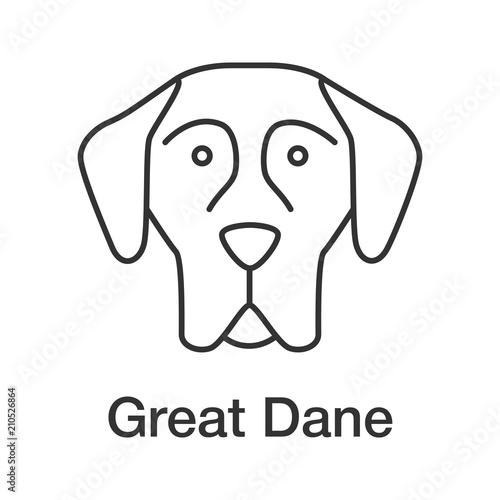 Fototapeta Great Dane linear icon obraz