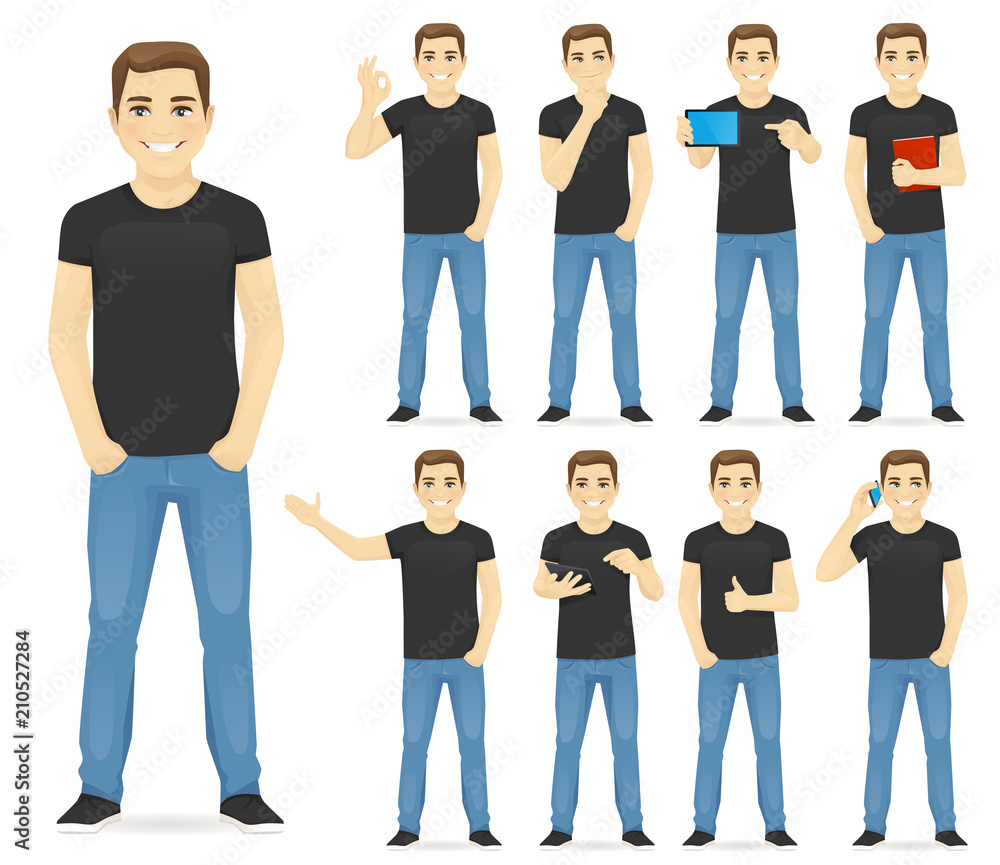 Fototapeta Man in casual outfit set with different gestures isolated