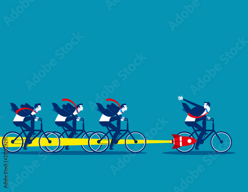 Photo Buisness team and competition, Concept business vector illustration, Flat business cartoon, Overcome, Achieve success, Competitive, Performance